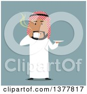 Clipart Of A Flat Design Arabian Business Man Drinking Coffee On Blue Royalty Free Vector Illustration by Vector Tradition SM