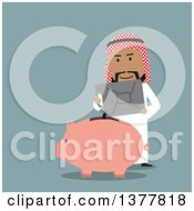 Clipart Of A Flat Design Arabian Business Man Pouring Gas Into A Piggy Bank On Blue Royalty Free Vector Illustration