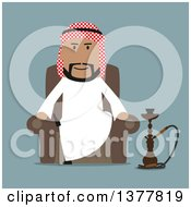 Clipart Of A Flat Design Arabian Business Man Sitting With A Hookah On Blue Royalty Free Vector Illustration by Vector Tradition SM