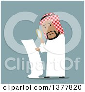 Clipart Of A Flat Design Arabian Business Man Examining A Contract On Blue Royalty Free Vector Illustration by Vector Tradition SM