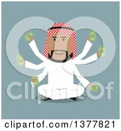 Clipart Of A Flat Design Arabian Business Man With Many Arms Sitting Nad Holding Cash On Blue Royalty Free Vector Illustration by Vector Tradition SM