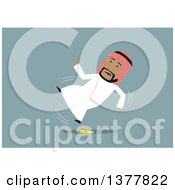 Clipart Of A Flat Design Arabian Business Man Slipping On A Banana Peel On Blue Royalty Free Vector Illustration by Vector Tradition SM
