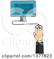 Clipart Of A Sketched White Business Mans Hand And Desktop Computer Royalty Free Vector Illustration