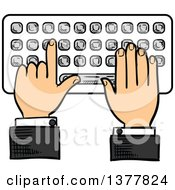 Clipart Of A Sketched White Business Mans Hands Typing On A Keyboard Royalty Free Vector Illustration
