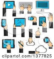 Clipart Of Sketched Human Hands Working On Tablets Desktop Computer Keyboard Smartphones Digital Pen Cloud Data Storage And Search Application Royalty Free Vector Illustration