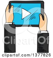 Clipart Of A Sketched White Business Mans Hand Using A Touch Screen Tablet Computer Royalty Free Vector Illustration by Seamartini Graphics