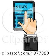 Clipart Of A Sketched White Business Mans Hand Using A Touch Screen Tablet Computer Royalty Free Vector Illustration