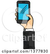 Sketched White Business Mans Hand Holding A Smart Phone