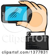 Clipart Of A Sketched White Business Mans Hand Holding A Smart Phone Royalty Free Vector Illustration