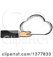 Clipart Of A Sketched White Business Mans Hand Holding A Cloud Royalty Free Vector Illustration