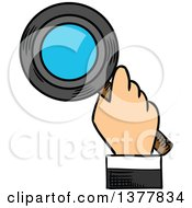 Clipart Of A Sketched White Business Mans Hand Searching With A Magnifying Glass Royalty Free Vector Illustration