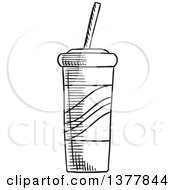 Clipart Of A Black And White Sketched Fountain Soda Royalty Free Vector Illustration
