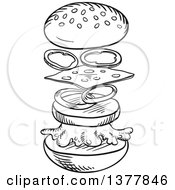 Clipart Of A Black And White Sketched Cheeseburger Separated Showing Assembly Royalty Free Vector Illustration