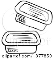Clipart Of Black And White Sketched Condiment Containers Royalty Free Vector Illustration