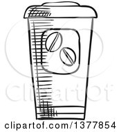Clipart Of A Black And White Sketched Take Out Coffee Cup Royalty Free Vector Illustration