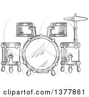 Clipart Of A Black And White Sketched Drum Set Royalty Free Vector Illustration
