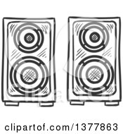 Clipart Of Black And White Sketched Music Speakers Royalty Free Vector Illustration