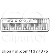 Clipart Of A Black And White Sketched Music Keyboard Royalty Free Vector Illustration