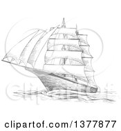 Clipart Of A Sketched Gray Ship Royalty Free Vector Illustration by Vector Tradition SM