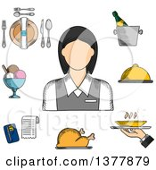 Clipart Of A Sketched Waitress In Elegant Uniform Surrounded By Dinner Set Champagne And Ice Bucket Ice Cream Sundae Fried Chicken Cloche And Restaurant Bill Royalty Free Vector Illustration