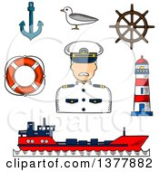 Clipart Of A Sketched Captain In White Uniform Helm Ship Anchor Lifebuoy Lighthouse And Seagull Royalty Free Vector Illustration
