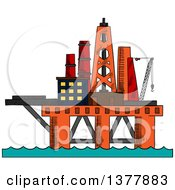 Clipart Of A Sketched Oil Platform Royalty Free Vector Illustration
