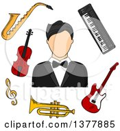Clipart Of A Musician Man In Tailcoat Surrounded By Electric Guitar Trumpet Violin Saxophone Treble Clef And Synthesizer Musical Instruments Royalty Free Vector Illustration