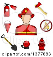 Clipart Of A Sketched Fireman Flanked By Fire Axe Bucket And Shovel Extinguisher Fire Alarm Hydrant And Prohibition Sign Royalty Free Vector Illustration by Vector Tradition SM
