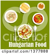 Clipart Of Hungarian Food With Text Over Green Royalty Free Vector Illustration