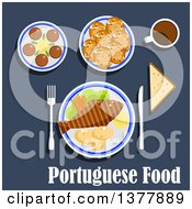 Clipart Of Portuguese Food With Text Over Blue Royalty Free Vector Illustration