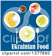 Clipart Of Ukrainian Food With Text Over Blue Royalty Free Vector Illustration