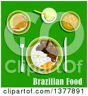Clipart Of Brazilian Food With Text Over Green Royalty Free Vector Illustration