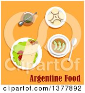 Clipart Of Argentine Food With Text Over Yellow Royalty Free Vector Illustration