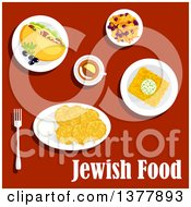 Clipart Of Jewish Food With Text Over Red Royalty Free Vector Illustration by Vector Tradition SM