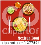 Clipart Of Mexican Food With Text Over Red Royalty Free Vector Illustration