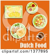Clipart Of Dutch Food With Text Over Orange Royalty Free Vector Illustration