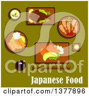 Clipart Of Japanese Food With Text Over Green Royalty Free Vector Illustration by Vector Tradition SM