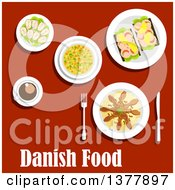 Clipart Of Danish Food With Text Over Red Royalty Free Vector Illustration