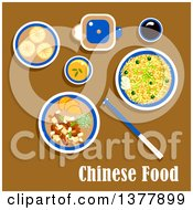 Clipart Of Chinese Food With Text Over Brown Royalty Free Vector Illustration by Vector Tradition SM