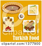 Clipart Of Turkish Food With Text Over Yellow Royalty Free Vector Illustration