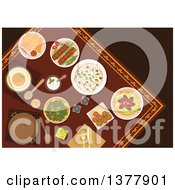 Clipart Of Flat Design Arabian Food Kebab Falafels Pita Bread With Dipping Sauces Hummus Rice Pickled Green Olives And Lahmacun With Meat And Vegetables Royalty Free Vector Illustration