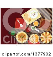 Clipart Of Spicy Arabian Food Chickpea Falafels Wrapped In Flatbread Pita With Hummus Assortment Of Dipping Sauces Sfiha Meat Pie Teapot And Cakes With Sliced Oranges Royalty Free Vector Illustration