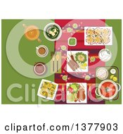 Clipart Of Indian Cuisine Dishes Drinks And Snacks With Festive Table Setting With Candles Rose Petals And Curry With Rice Kebab And Tandoori Chicken Legs Served With Vegetables And Lemons Spinach Soup With Curd Cheese Desserts And Masala Tea R