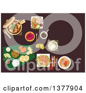 Clipart Of Malaysian Dishes With Nasi Lemak Rice Prawn Noodle Tofu Noodle With Curry Pork Stew In Pot With Mushrooms And Dried Tofu Passion Fruit Carambola Mango Pineapple Fruits With Flat Bread And Desserts On Banana Leaf Royalty Free Vector I