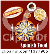Clipart Of Spanish Food With Text Over Red Royalty Free Vector Illustration
