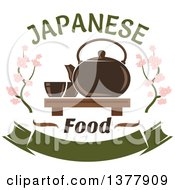 Clipart Of A Japanese Food Design Of A Tea Set And Blossoms Royalty Free Vector Illustration
