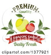 Clipart Of A Green And Red Apple Food Design With Text Royalty Free Vector Illustration