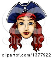 Clipart Of A Brunette White Female Pirate Captain Royalty Free Vector Illustration by Vector Tradition SM