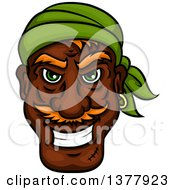 Clipart Of A Black Male Pirate Wearing A Green Bandanana Royalty Free Vector Illustration