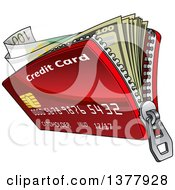 Clipart Of A Red Zippered Credit Card Wallet With Cash Royalty Free Vector Illustration